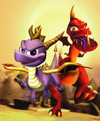 Spyro and a Skelos Badlands dinosaur
